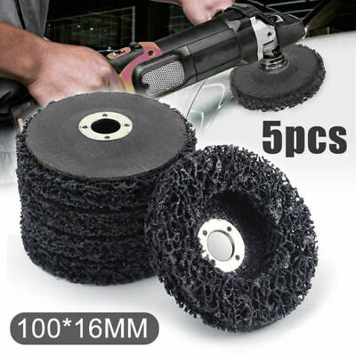 "5x 4""inch Black Poly Strip Disc Wheel Paint Rust Removal Clean For Angle Grinder"