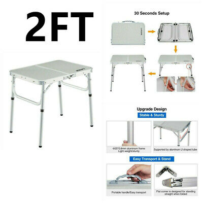 2FT Heavy Duty Folding Table Portable Plastic BBQ Camping Garden Party Trestle
