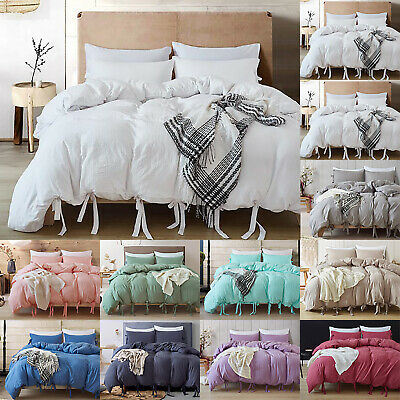 Plain Dyed Quilt Duvet Cover With Pillowcase Single Double King Bedding Set Size
