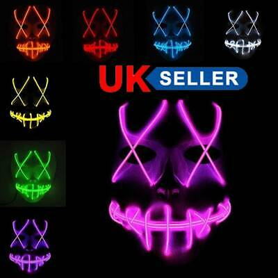 Neon Stitches Full Masks LED Wire Light Up Costume Party Purge Halloween Cosplay