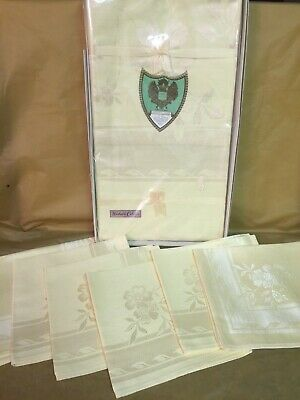Vintage Unused Damask Tablecloth & 6 Napkins - Original Box - Pale Yellow - Rose
