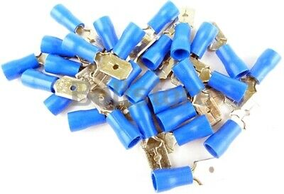 Blue Male Spade Crimp Electrical Terminal Wire Connector Fittings