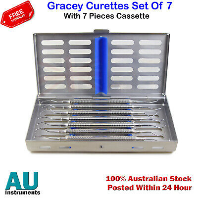 Dental Instruments Cassette Box Tray With Gracey Curettes Set Of 7 Pieces New CE