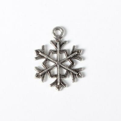 25 Antique Silver Snowflake Charms - Double Sided -  Winter Snowflakes 21mm