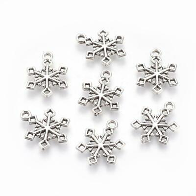 25 Antique Silver Snowflake Charms - Double Sided -  Winter Snowflakes 20mm