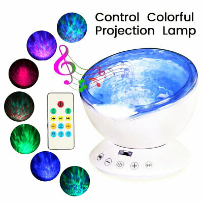 Night Light LED Projector Remote Lamp Relaxing Ocean Wave Music Girls Boys Kids