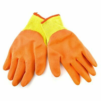 Medium Size 8 Polycotton Latex Rubber Coated Protective Work Gloves 12 Pair