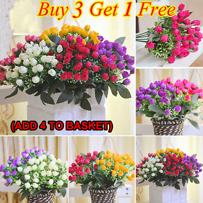 36HEADS ARTIFICIAL SILK FLOWERS BUNCH Wedding Home Grave Outdoor Bouquet UK LO
