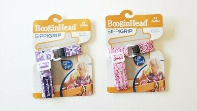 Booginhead Sippigrip Juice Sippy Cup Holder Pink Hearts And Purple Lot Of 2