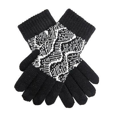 Dents Black and Winter White Knitted Ladies Gloves With Reptile Pattern