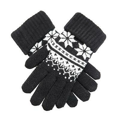 Dents Black & Winter White Knitted Ladies Gloves With Snowflake Pattern