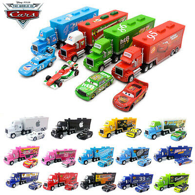 Disney Pixar Cars King/Chick Hicks/MACK HAULER SUPER-LINER Truck Toy Diecast Car