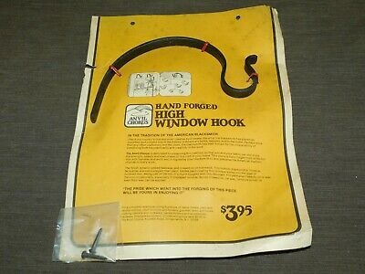 Vintage Anvil Chorus Hand Forged Wrought Iron High Window Hook New Nos
