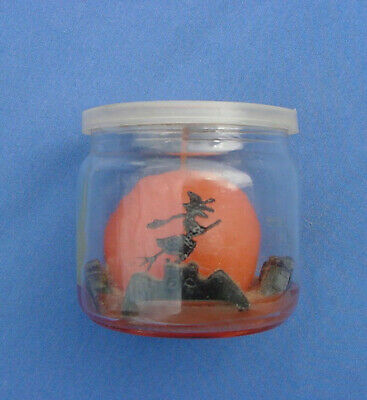 Vintage Halloween Candle In Glass Jar With Witch On A Broom & Bats Unlit