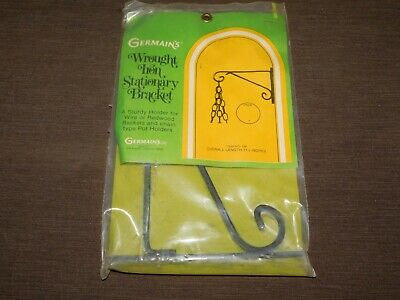 """Vintage  11 1/2"""" Germain's Wrought Iron Stationary Bracket Plant Hook New Nos"""