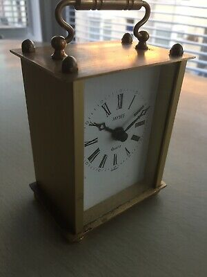 Working W German Vintage JAYBEE SOLID BRASS Battery Quartz Carriage mantle Clock