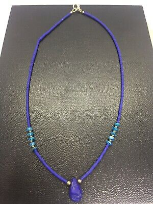 Natural Afghan Lapis-lazuli Stone Tiny Seed Beads Handmade Necklace