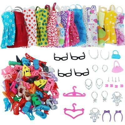 42 Pack Barbie Doll Clothes Party Gown Outfits Shoes Necklaces Glasses for Girls