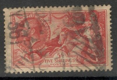 George V - SG 451 - 5s.. Rose Red - Seahorse - Re-Engraved - Used.