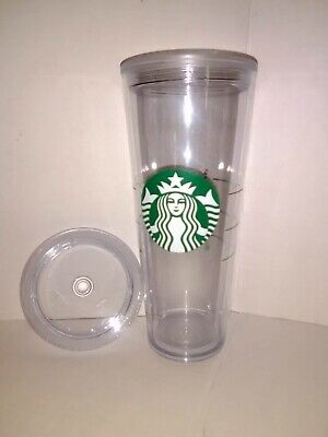 Starbucks Venti Clear Double Wall Cold/Iced Cup Tumbler 24 oz