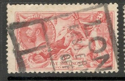 George V - SG 416 - 5s. Red - Seahorse - Bradbury Wilkinson - Used