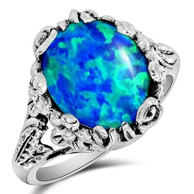 8CT Natural Blue Fire Opal 925 Solid Sterling Silver Ring Jewelry Sz 9, FL16