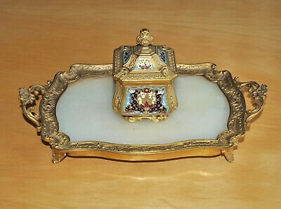 Antique (French?) Ormolu Bronze Champleve Enamel & Marble Desk Stand Inkwell
