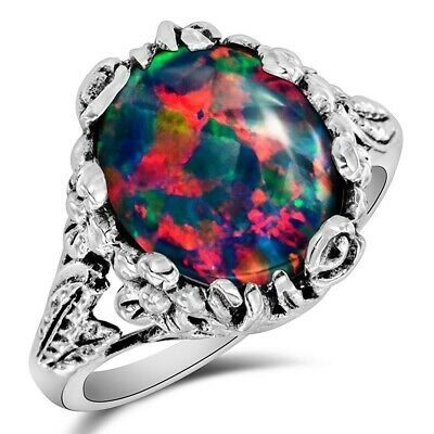 8CT Natural Red Fire Opal 925 Sterling Silver Filigree Ring Jewelry Sz 9 FL16