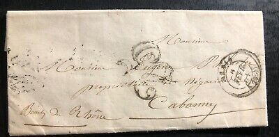 1851 France Stampless Letter Vintage Cover To Cabanny Wax Seal