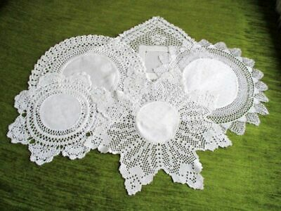 ANTIQUE DOILIES/MATS with CROCHET EDGE - COLL.OF 5