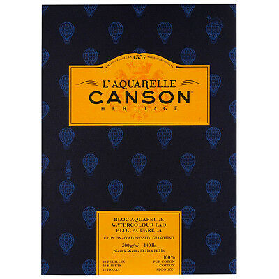 Canson Heritage Watercolour Paper Pad 300gsm 26x36cm 12 Sheets Cold