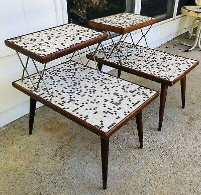 Pair Mid Century Step 2-Tier Mosaic Tile Nightstands End Side Table 50S 60S