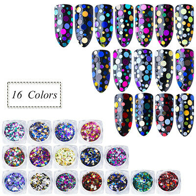 Holographic Laser Sequins Round Glitter Flakes Art Nail Decor Manicure Tips DIY