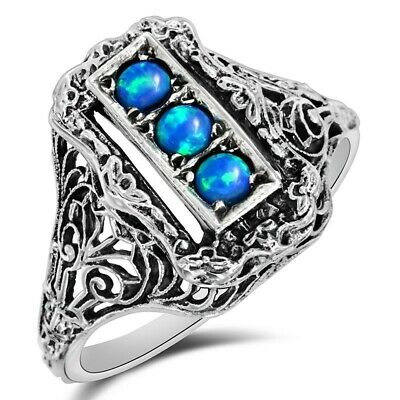 1CT Natural Blue Fire Opal 925 Solid Sterling Silver Ring Jewelry Sz 9