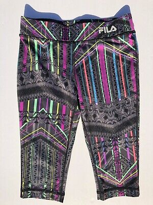 FILA Sport Girls Leggings Size S (8) Printed Cropped Stretch Athletic Workout