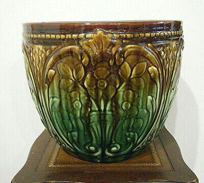 McCoy Weller Roseville Vtg Art Pottery Jardiniere Planter Green Brown Majolica