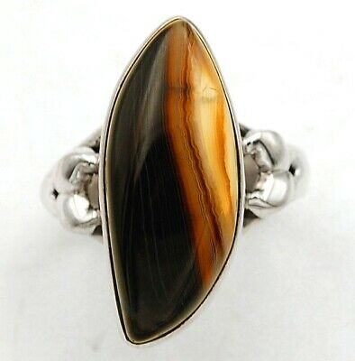 Wonderful Art Banded Agate 925 Solid Sterling Silver Ring Jewelry Sz 8, C15-1