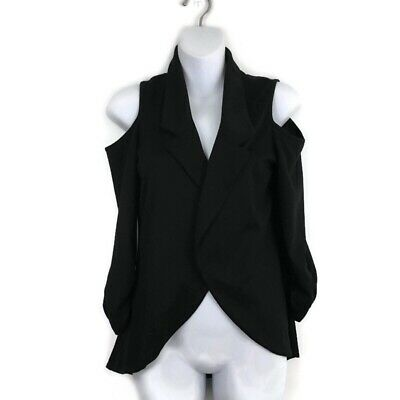 Moa Moa Black Collared Cold Shoulder Open Front Cardigan Women's Size Small