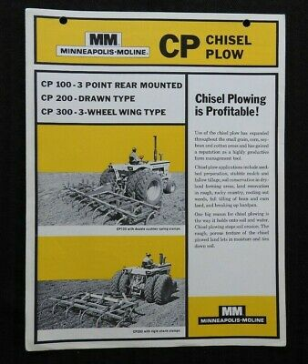 Genuine Minneapolis Moline Cp 100 200 300 Chisel Plow Catalog Fold-Out Brochure