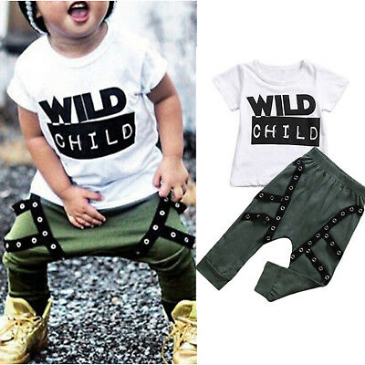 Summer 2Pcs Toddler Baby Kid Boy Short Sleeve T-Shirt Top Long Pants Outfits Set