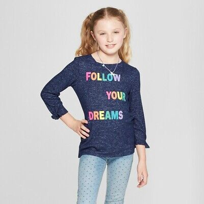 Cat & Jack Girls' Follow Your Dreams Cozy 3/4 Sleeve Pullover Small-XL #6089