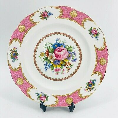 "Royal Albert Pink LADY CARLYLE 10.5"" Dinner Plate, Bone China, England Gold Gilt"