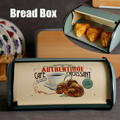 French Retro Metal Bread Box Bin Cafe Kitchen Storage Containers Roll Top  G