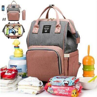 LEQUEEN Fashion Large Mummy Maternity Baby Nappy Diaper Bag Travel USB Backpack