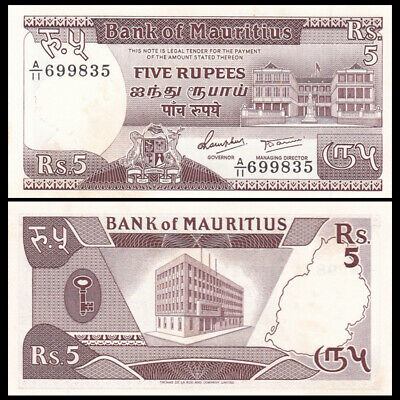 Mauritius 5 Rupees, ND(1985), P-34, A-UNC with yellow spot
