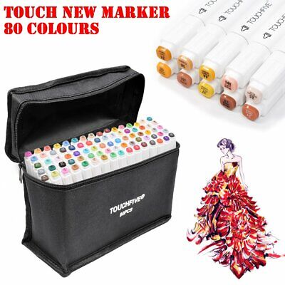 80 Colour Art Markers Touch New Five General Drawing Twin Tips Broad Glove UK