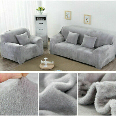 Thick Plush Velvet Sofa Covers Easy Fit Stretch Protector Soft Couch Cover UK