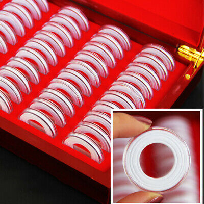 50 Pcs Round Coin Box Storage Container Holders Wooden Case Coins Collection Box
