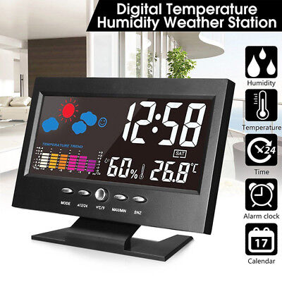 Projection Digital Alarm Clock Snooze Weather Thermometers LCD Color Display LED
