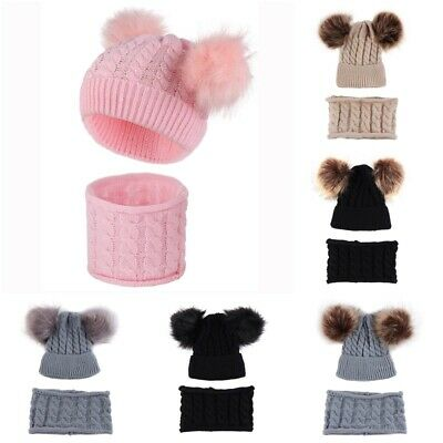 2PCS Baby Boy Girl Winter Cable Knit Knitted Double Pom Pom Bobble Hat Scarf UK
